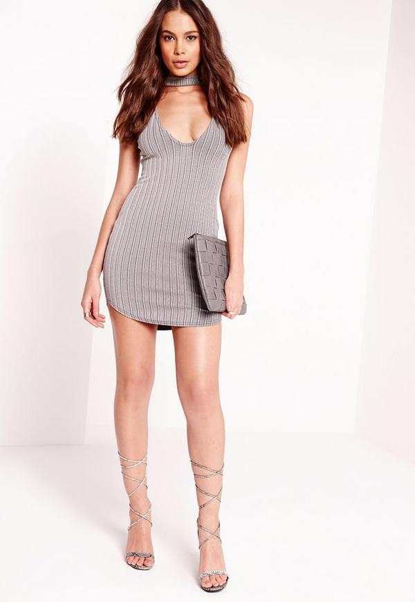 Textured Stripe Choker Plunge Dress Monochrome