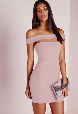 Cut Out Panel Bardot Bodycon Dress Lilac