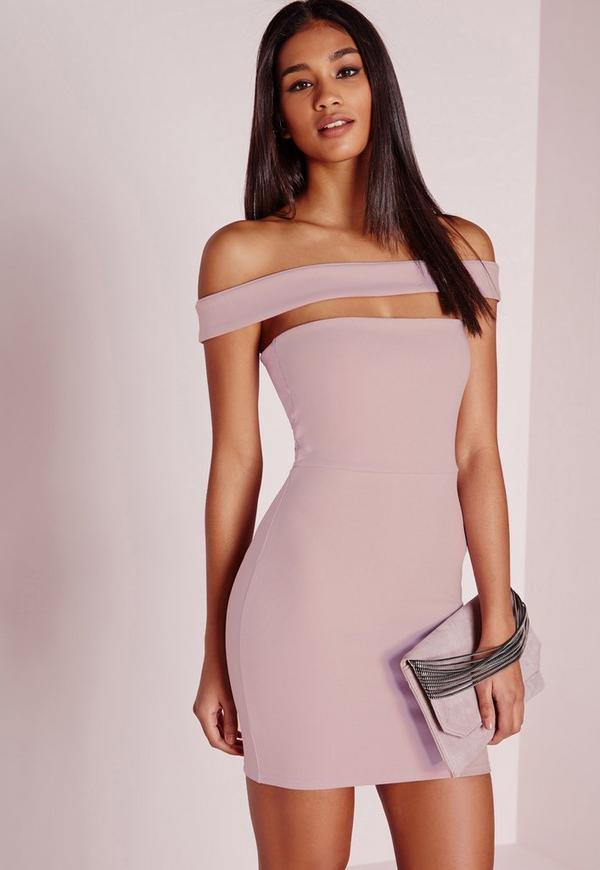 Cut Out Panel Bardot Bodycon Dress Lilac