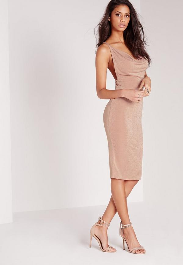 Cowl Front Cross Back Strappy Midi Dress Nude