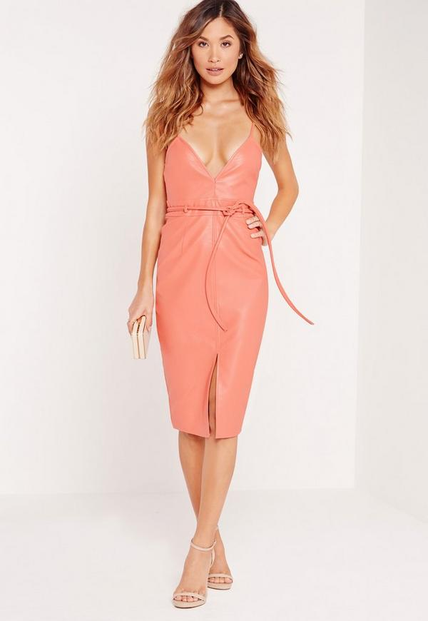 Faux Leather Strappy Bodycon Dress Salmon