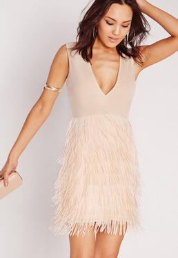 Plunge Fringed Skirt Bodycon Dress Nude