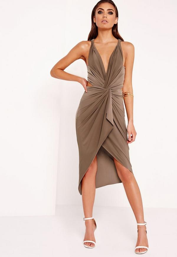 Slinky Knot Front Midi Dress Taupe
