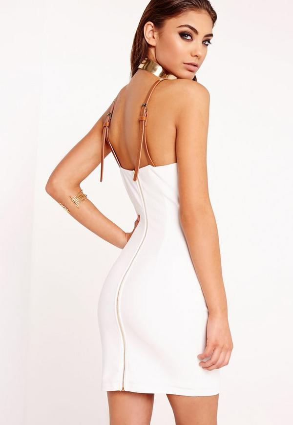 Belted Strap Cami Dress White