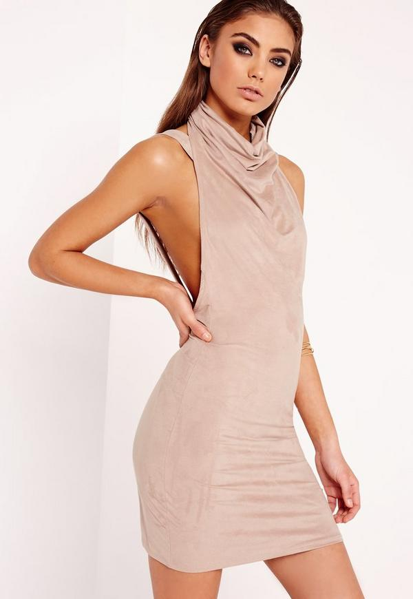 Faux Suede Cowl Front Mini Dress Nude