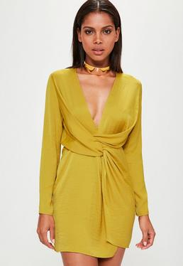 Yellow Satin Wrap Mini Dress