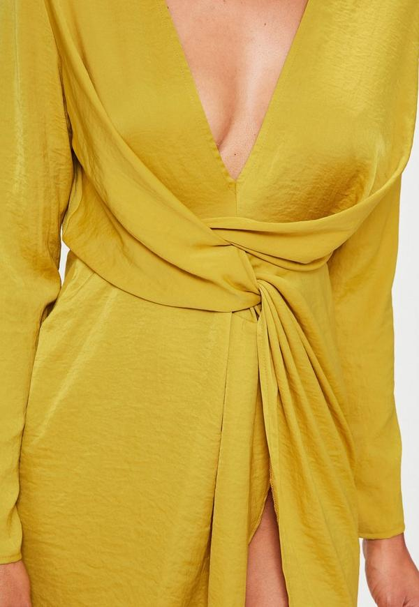 Robe de cocktail jaune moutarde