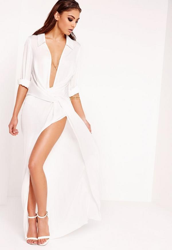 Wrap Front Shirt Maxi Dress White Missguided