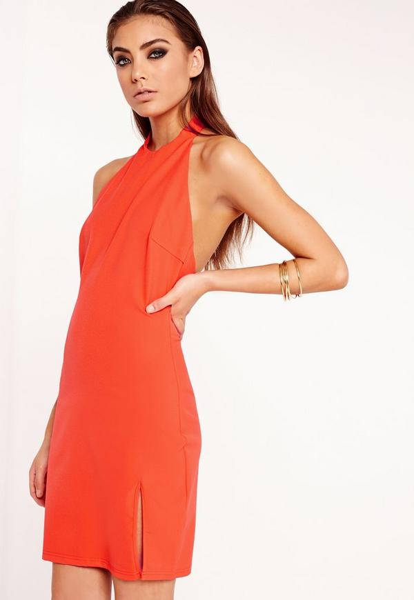 Crepe High Neck Mini Dress Orange