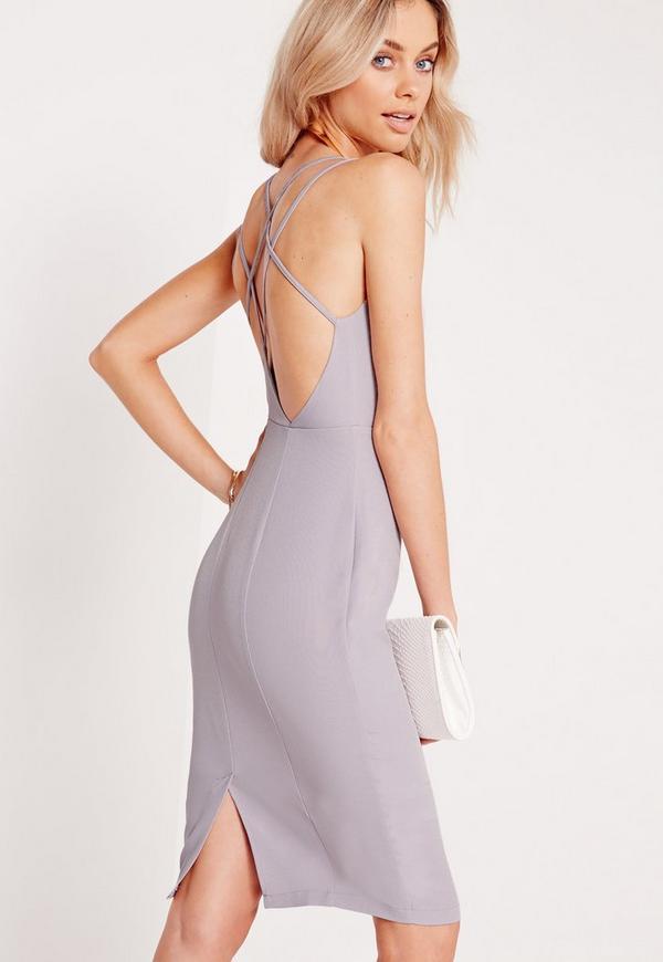 Strappy Side Split Midi Dress Grey