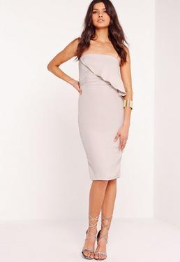 Strapless Frill Bust Midi Dress Grey