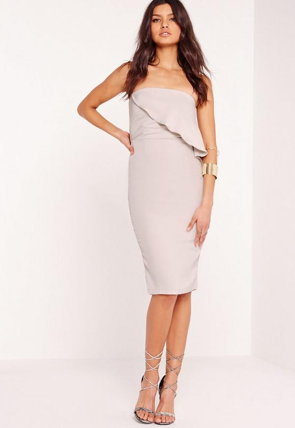 Strapless Frill Bust Midi Dress Grey | Missguided