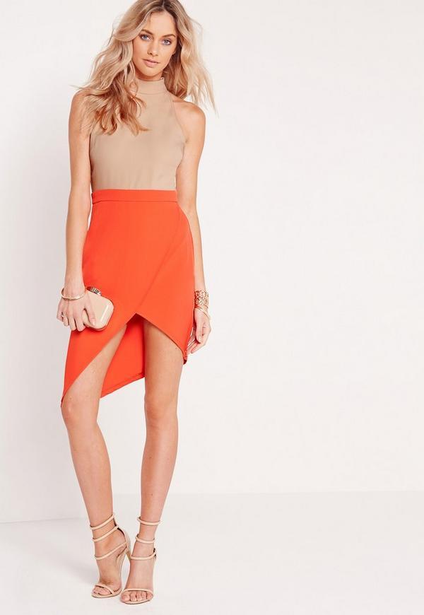 Contrast High Neck Midi Dress Nude/Orange