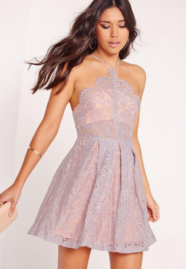 Strappy Lace Skater Dress Lilac