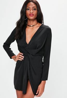 Black Silky Plunge Wrap Shift Dress