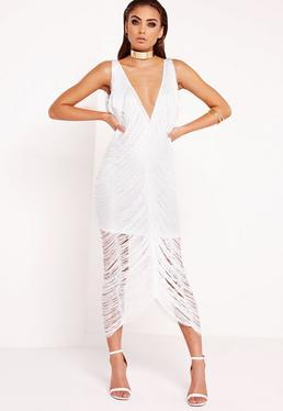 Fringe Midi Dress White