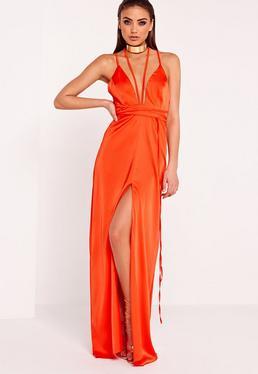 Satin Tie Waist Maxi Dress Orange