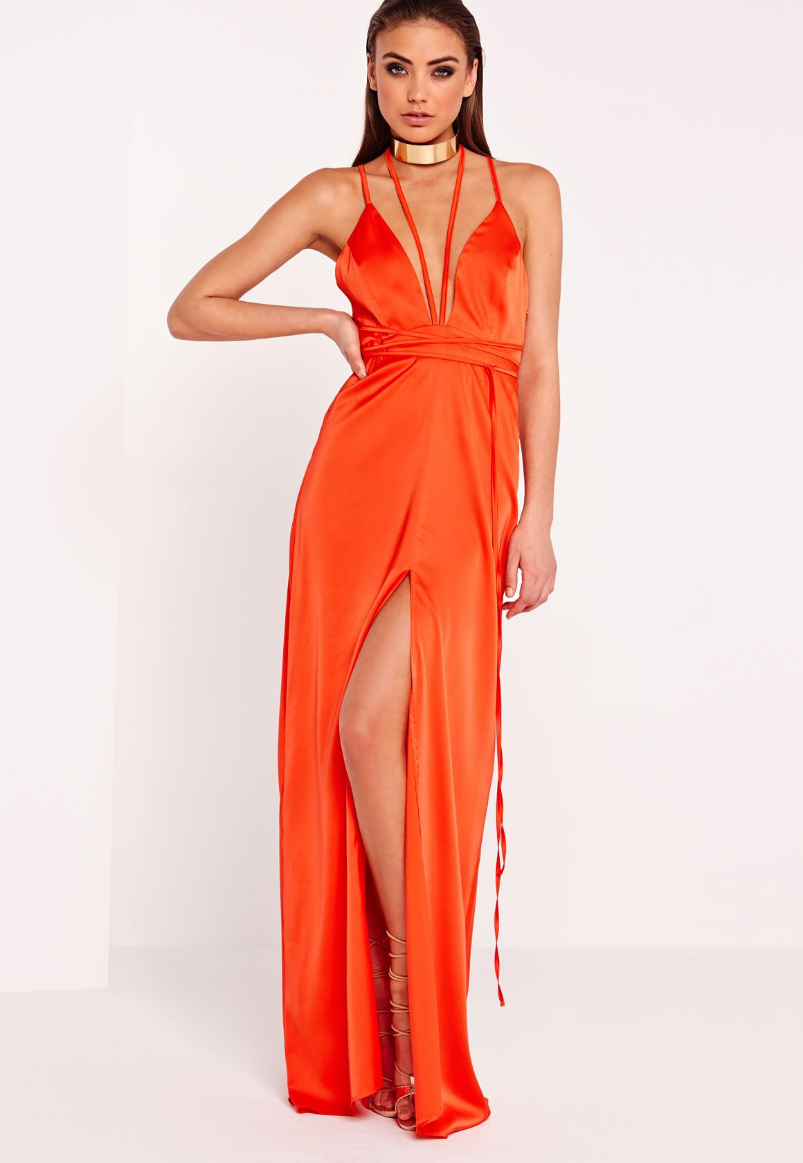 Satin Tie Waist Maxi Dress Orange | Missguided