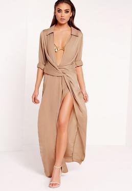 Wrap Front Shirt Maxi Dress Nude
