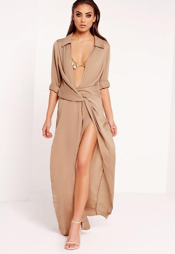 Wrap Front Shirt Maxi Dress Nude