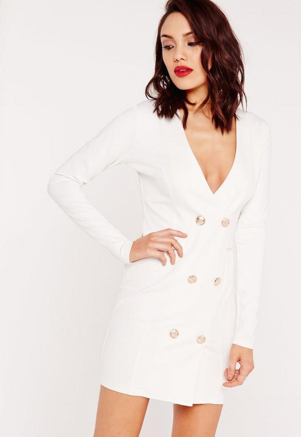 robe blazer blanche boutons dor s missguided. Black Bedroom Furniture Sets. Home Design Ideas
