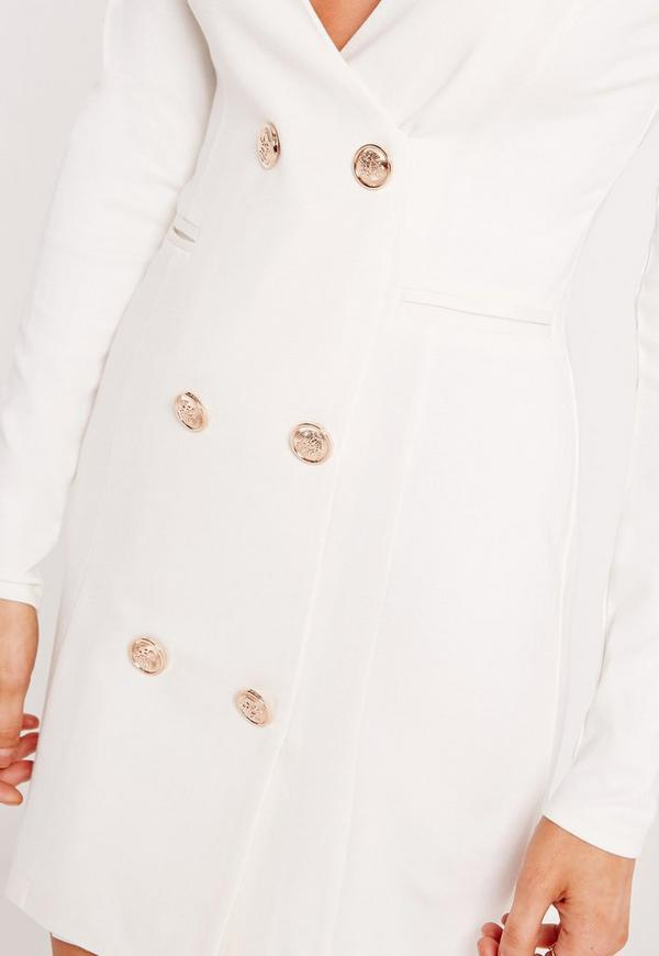 Gold Button Bodycon Blazer Dress White | Missguided