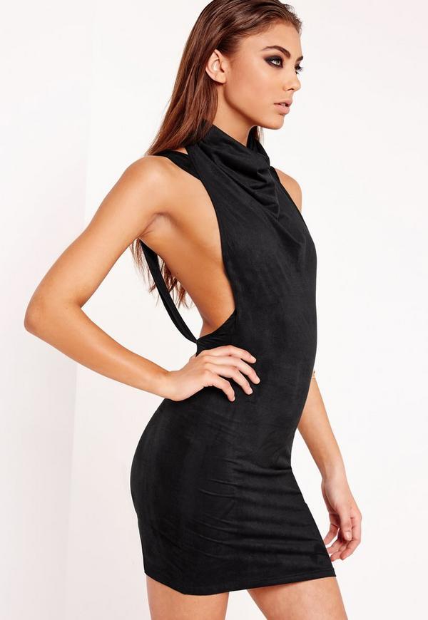 Faux Suede Cowl Front Mini Dress Black