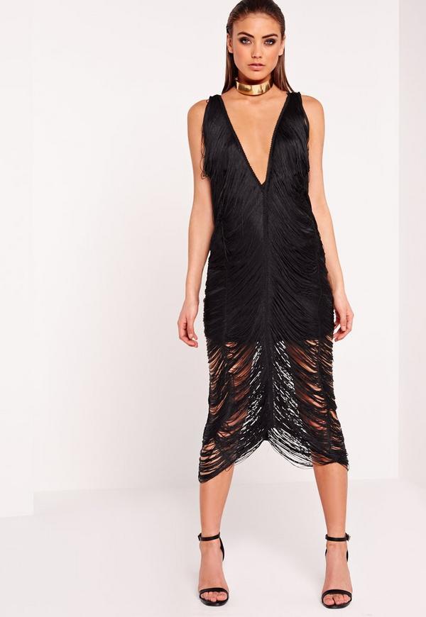 Fringe Midi Dress Black Missguided