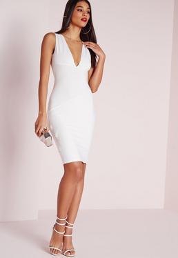 Biała dopasowana sukienka bandażowa z głębokim dekoltem