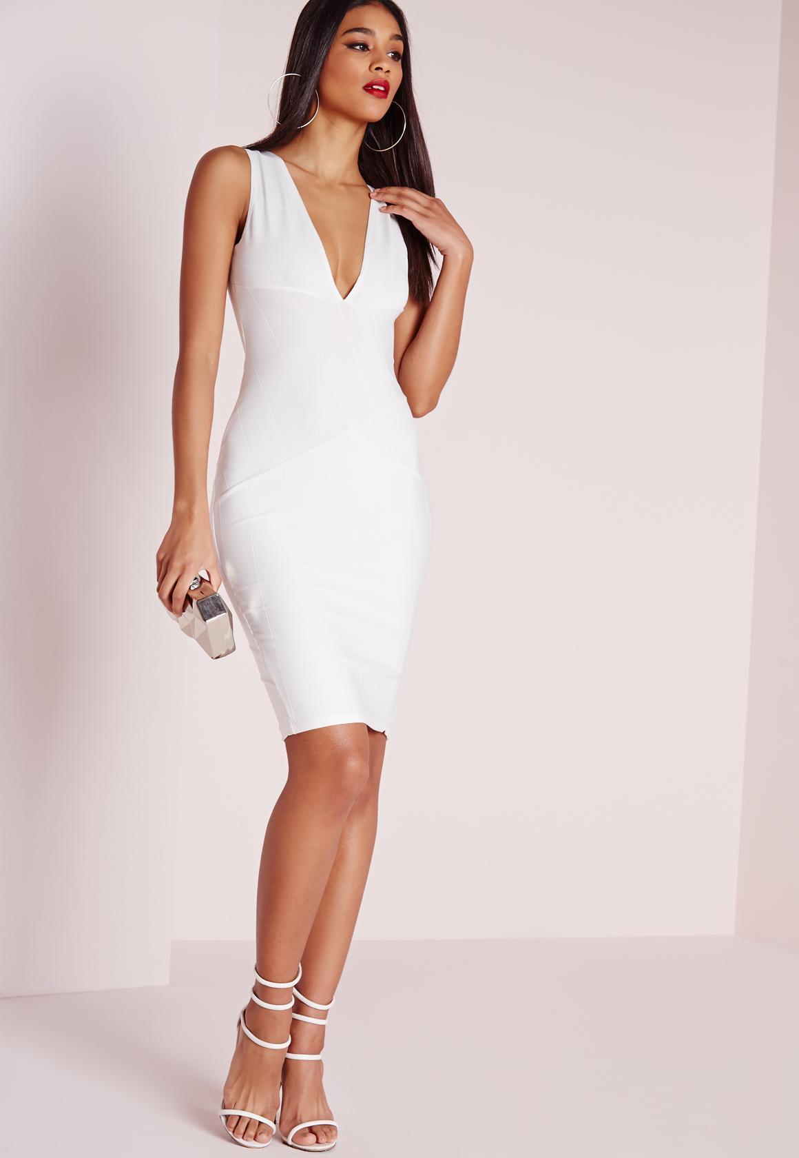 Plunge Bandage Bodycon Dress White | Missguided