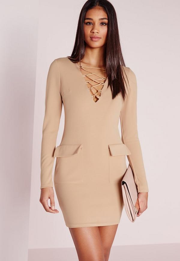 Pocket Detail Lace Up Bodycon Dress Taupe