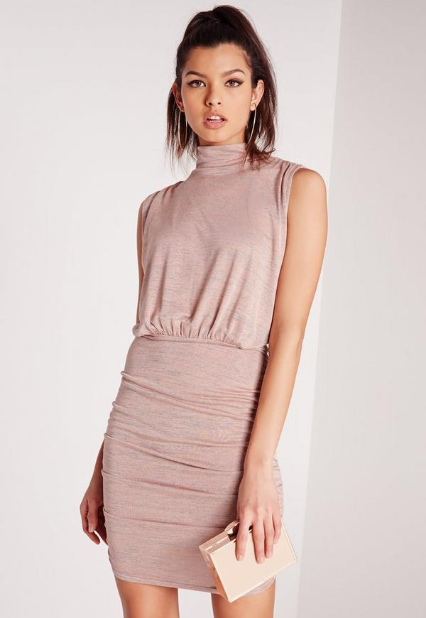 High Neck Gathered Mini Dress Pink