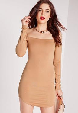 Long Sleeve Bardot Bodycon Dress Camel