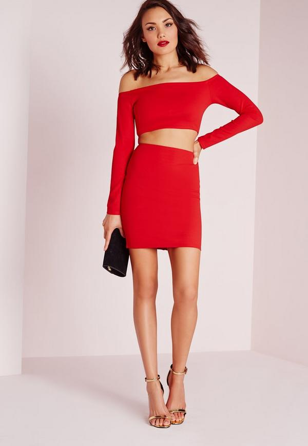 Long Sleeve Bardot Cut Out Bodycon Dress Red