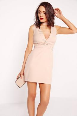 Choker Pleated Bust Bodycon Dress Nude
