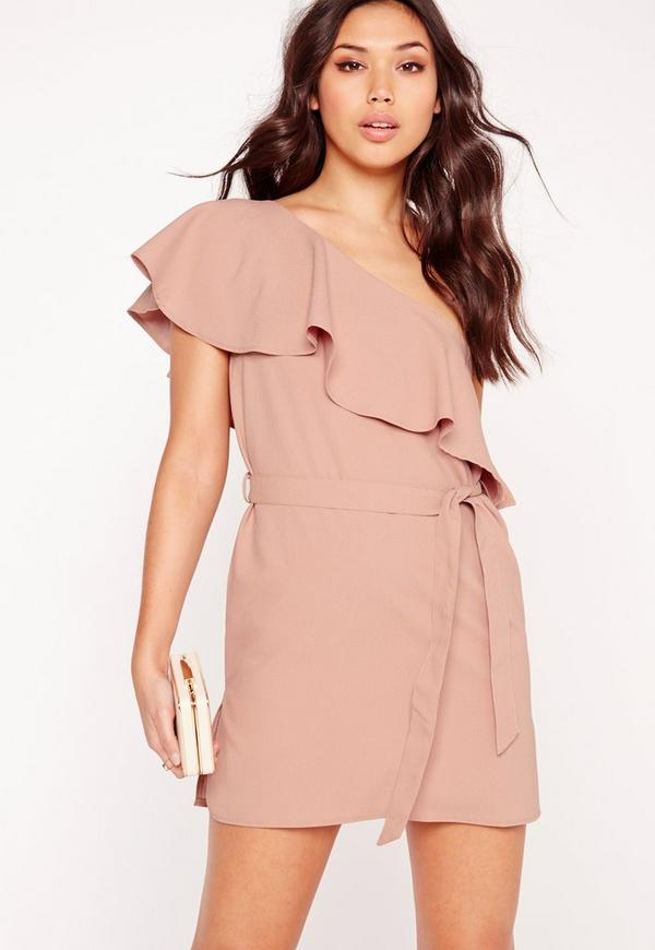 One Shoulder Shift Dress Mauve