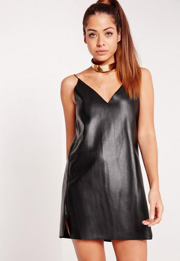 Faux Leather Cami Dress Black
