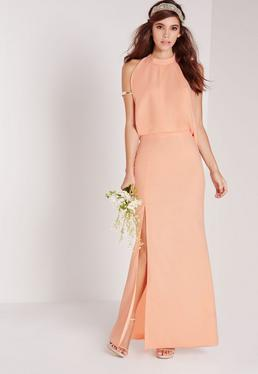 Cowl Back Maxi Dress Nude