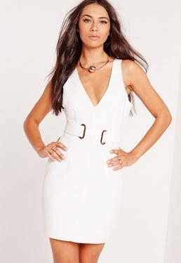 Sleeveless Belt Detail Bodycon Dress White