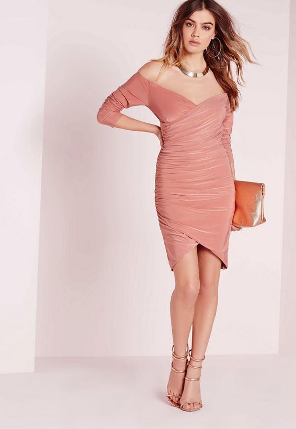 Slinky Bardot Bodycon Dress Pink