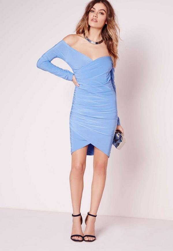 Slinky Bardot Bodycon Dress Sky Blue