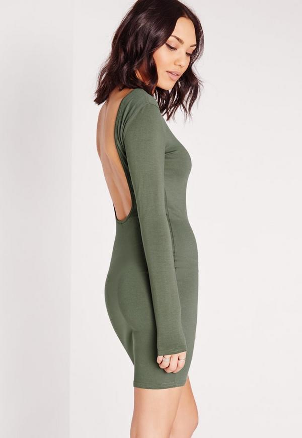 Jersey Scoop Back Bodycon Dress Khaki