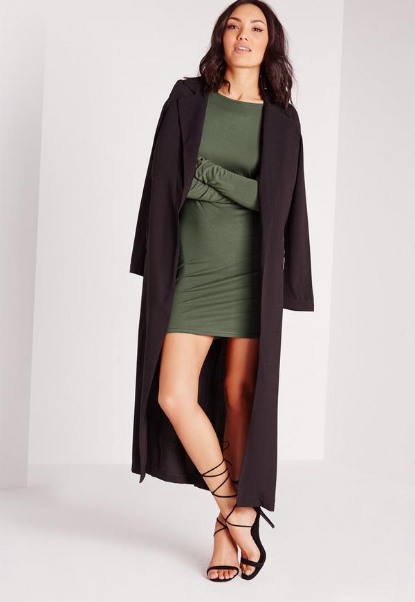 robe moulante vert kaki en jersey dos chancr missguided. Black Bedroom Furniture Sets. Home Design Ideas