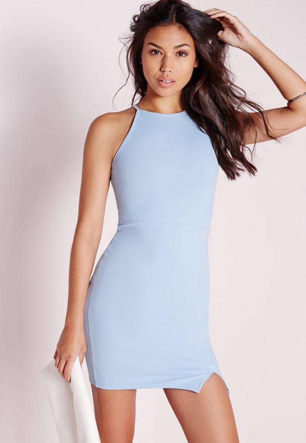 Square Neck Side Split Bodycon Dress Blue