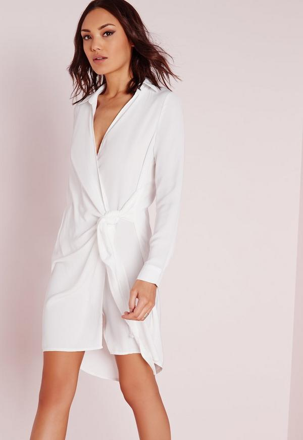 Crepe Wrap Shirt Dress White