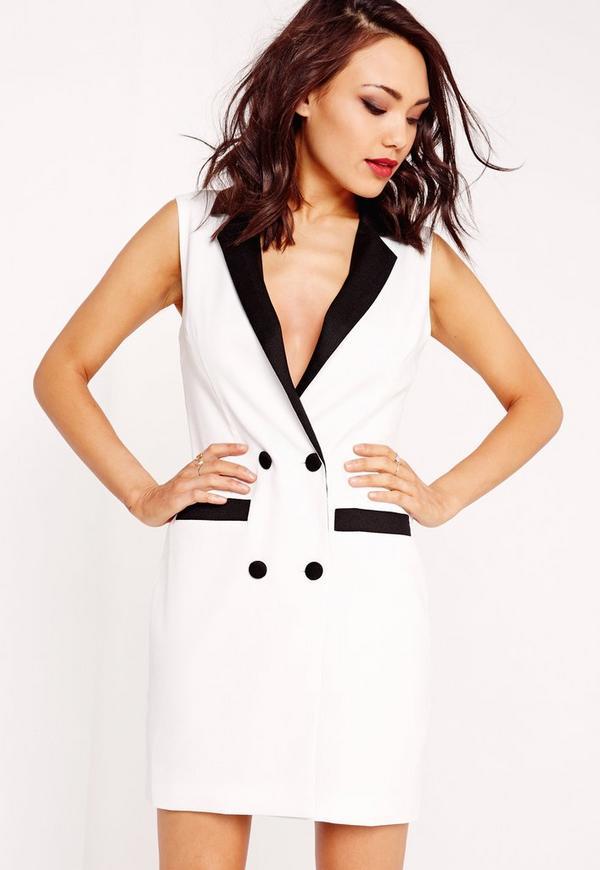 Sleeveless Blazer Dress Monochrome
