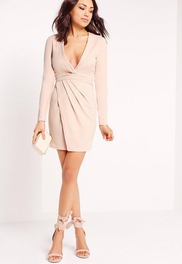 Long Sleeve Pleated Bust Plunge Bodycon Dress Nude