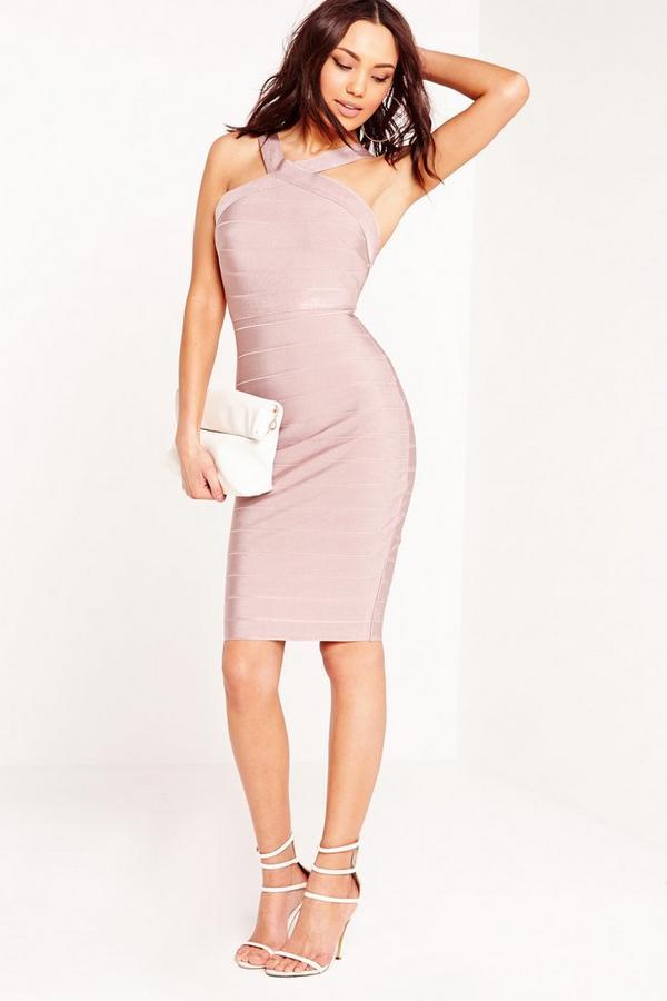 Cross Strap Bandage Bodycon Dress Pink