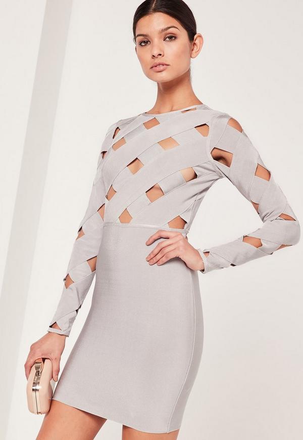 Premium Long Sleeve Bandage Dress Grey