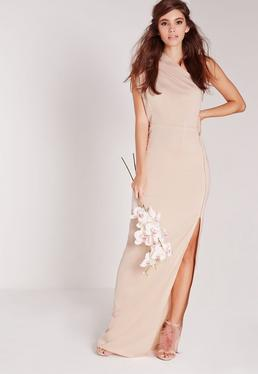 Zip Detail One Shoulder Maxi Dress Nude